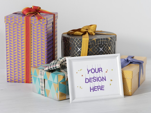 Party picture frame mockup with gift boxes and ribbon