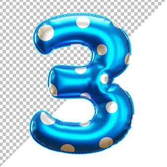 Party polka dot foil balloon 3 numbering in 3d rendering