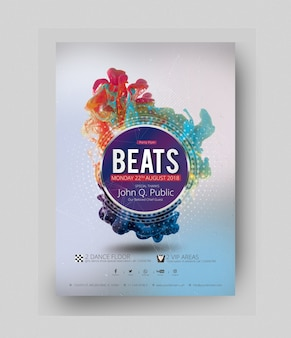 Party poster mockup with explosion of colors