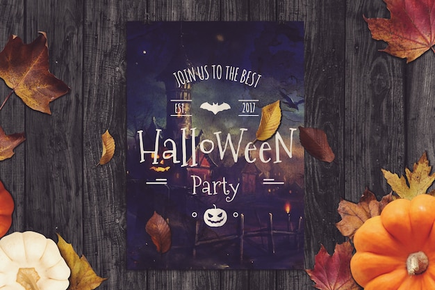 Макет плаката с дизайном хэллоуина