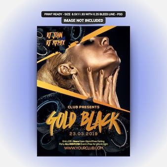 Party poster template with gold black party
