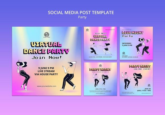 파티 소셜 미디어 게시물 프리미엄 PSD 파일