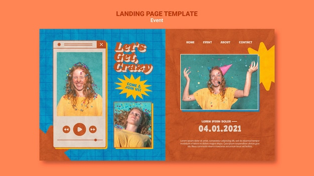 Party on web template with photo