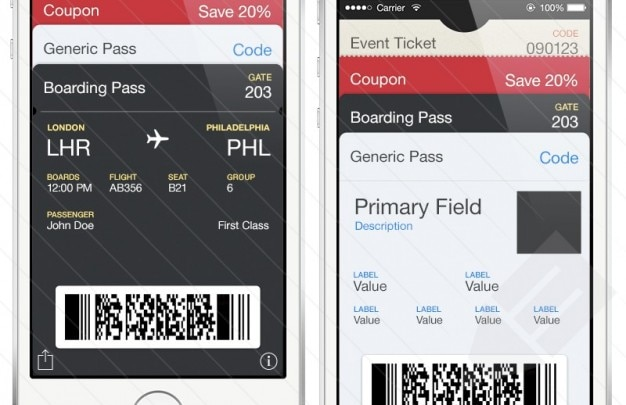 Passbook iphone template psd