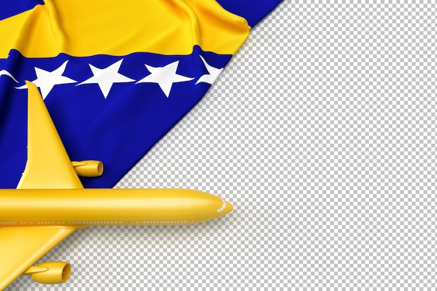 Пассажирский самолет и флаг боснии и герцеговины