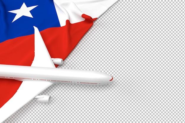 旅客機とチリの旗