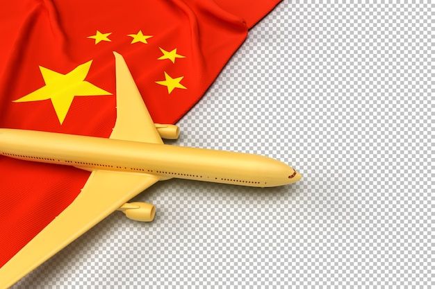 旅客機と中国の旗