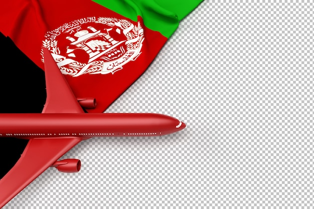 Passenger airplane and flag of afghanistan
