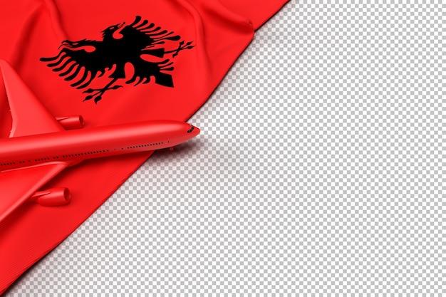 Passenger airplane and flag of albania