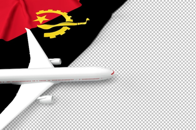 Passenger airplane and flag of angola