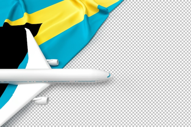 Passenger airplane and flag of bahamas