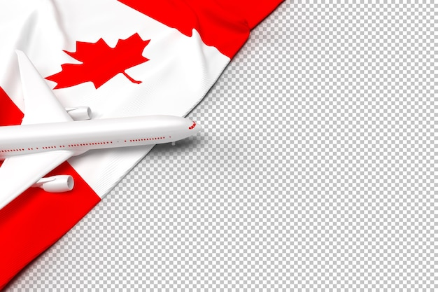 Passenger airplane and flag of canada