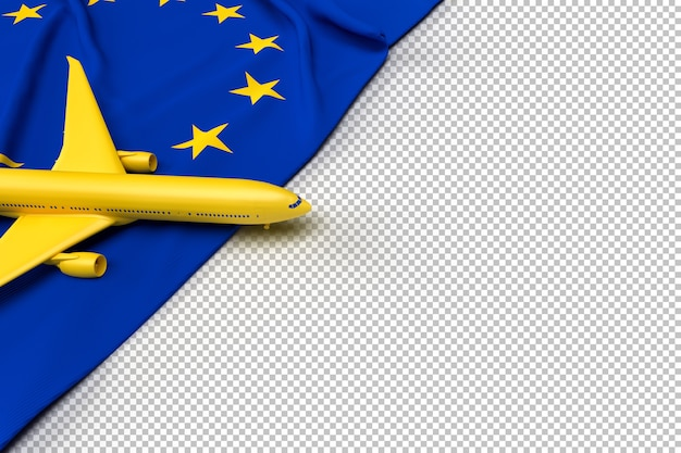 Passenger airplane and flag of european union