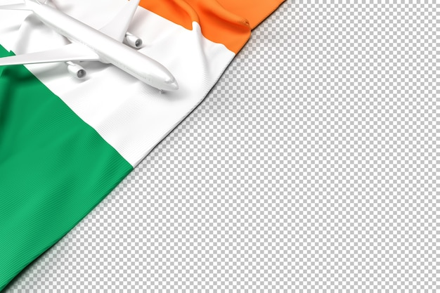 Passenger airplane and flag of ireland