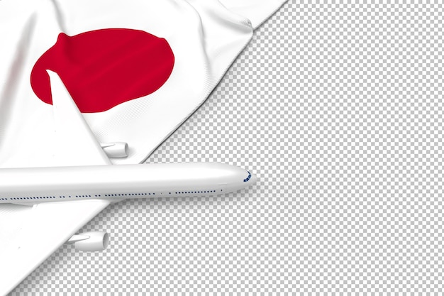 Passenger airplane and flag of japan