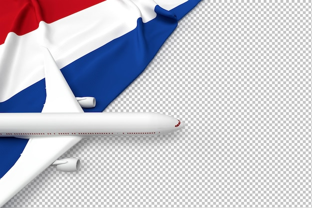 Passenger airplane and flag of netherlands