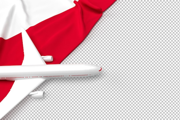 Passenger airplane and flag of poland