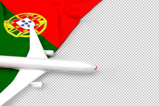 Passenger airplane and flag of portugal