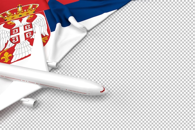 Passenger airplane and flag of serbia