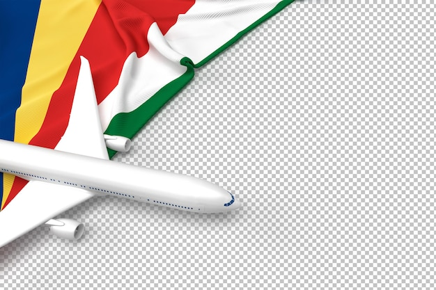 Passenger airplane and flag of seychelles