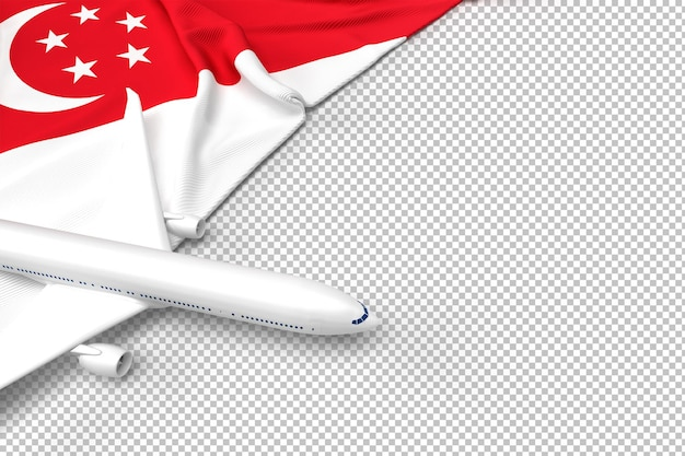 Passenger airplane and flag of singapore