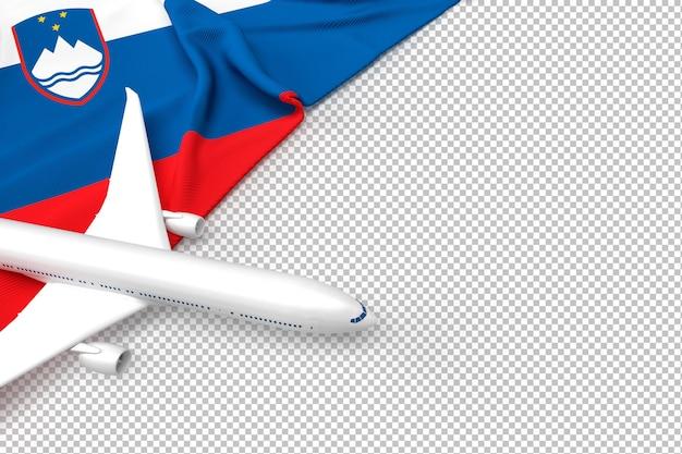 Passenger airplane and flag of slovenia