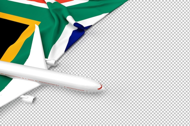 Passenger airplane and flag of south african republic