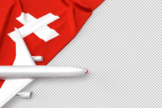 Passenger airplane and flag of switzerland