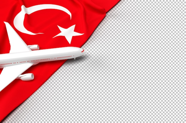 Passenger airplane and flag of turkey