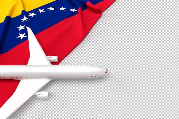 Passenger airplane and flag of venezuela