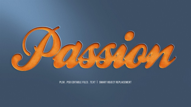 Passion cut 3d text style effect