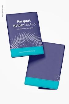 Мокап держателей паспортов, плавающий