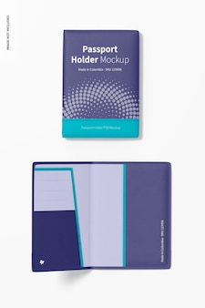 Passport holders mockup, opened and closed