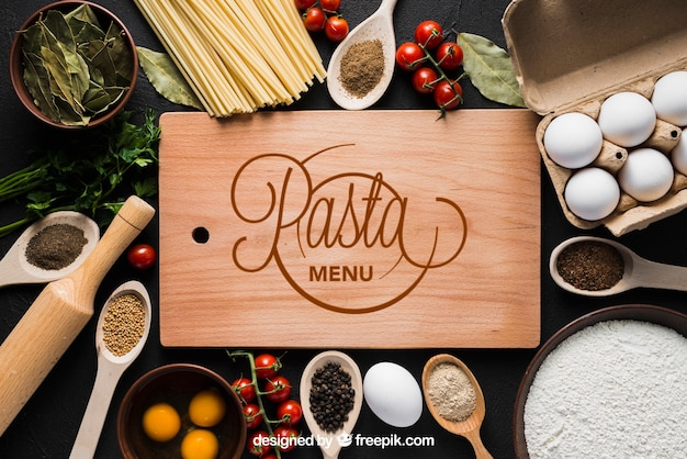 Pasta mockup with wooden board