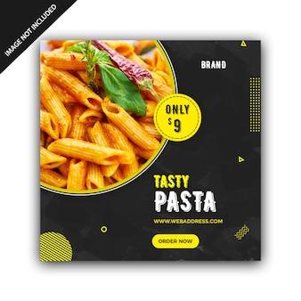 Pasta restaurant square banner