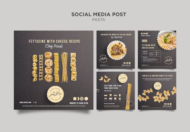 Pasta shop social media post template