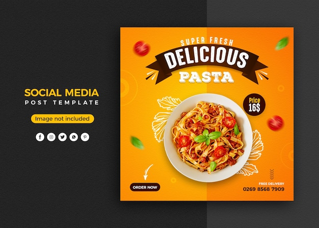 Pasta social media promotion and instagram banner post design template