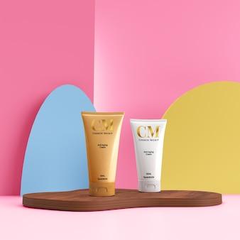 柔和的彩色化妆品产品样机在极简主义的场景上