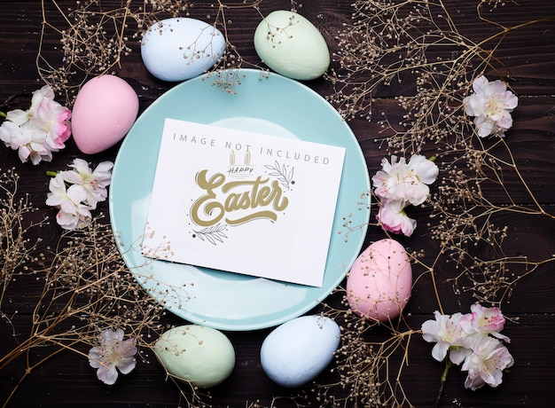 Pastel color easter eggs on a plate  with card mockup