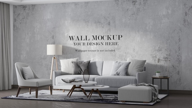 Pastel color modern interior wall mockup