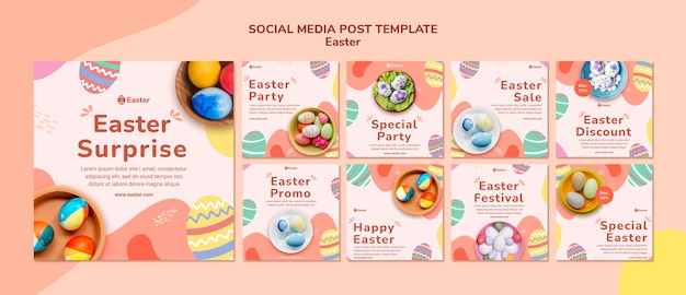 Pastel easter day instagram posts template