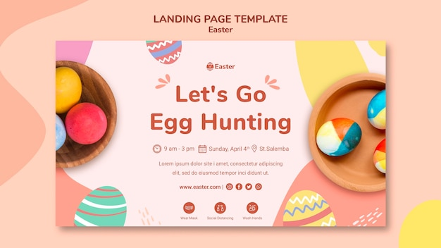 Pastel easter day landing page template