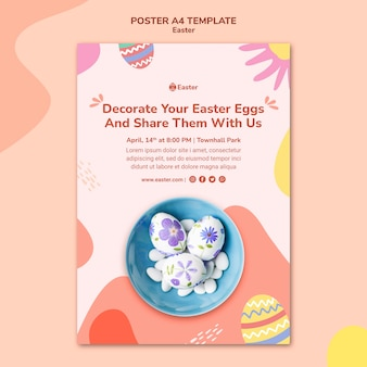 Pastel easter day poster template