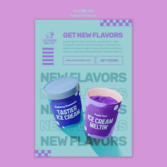 Шаблон флаера пастельного мороженого