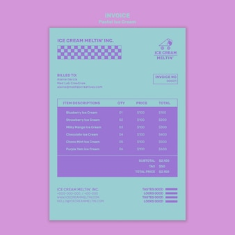 Pastel ice cream invoice template