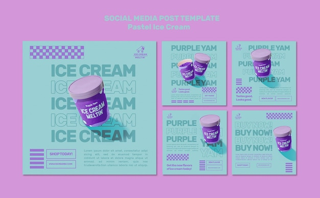 Pastel ice cream social media posts template