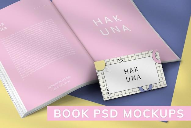 Пастельный макет страниц журнала psd с визитной карточкой