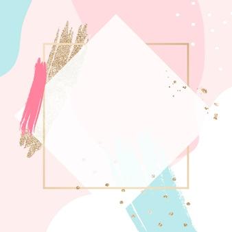 Pastel memphis cornice dorata psd con spazio di progettazione