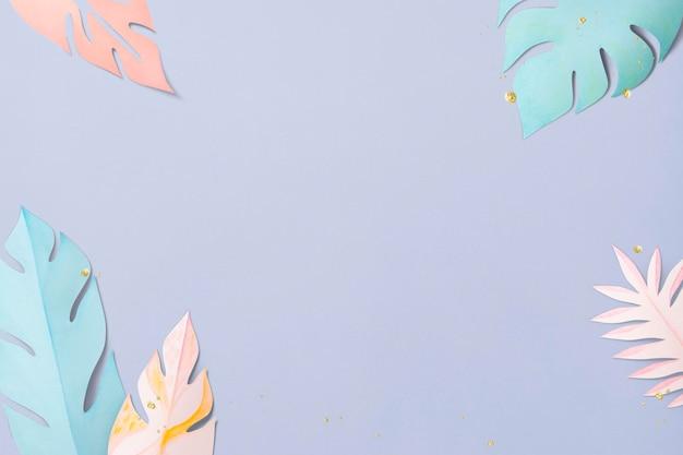 Пастельная рамка из листьев монстеры, psd в стиле поделок из бумаги