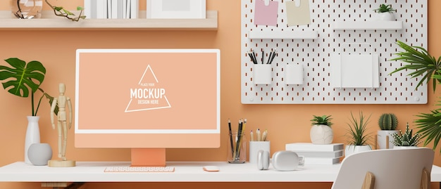 Pastel office design in orange colour with desktop computer shelf on the wall and copy space